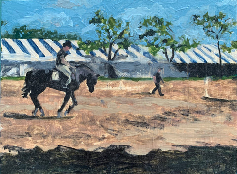 Hampton Classic Horse Show Painting, Oil on Board - Matthew Izzo Home