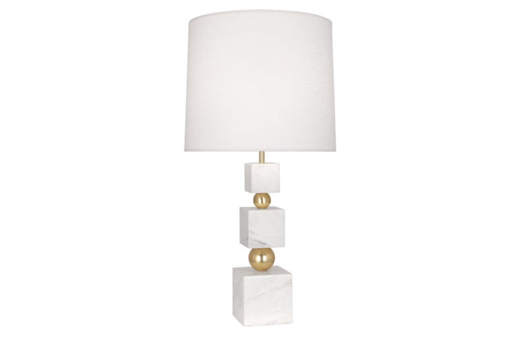 Jonathan Adler Totem White Marble/Linen Table Lamp - Matthew Izzo Home