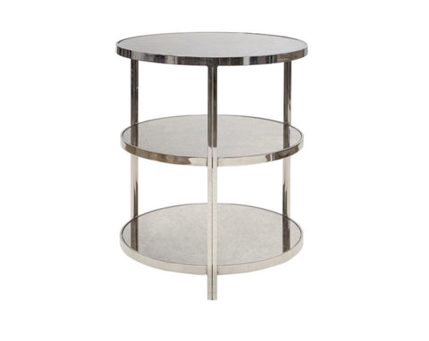Worlds Away Audrey Three-Tiered Nickel Side Table - Matthew Izzo Home