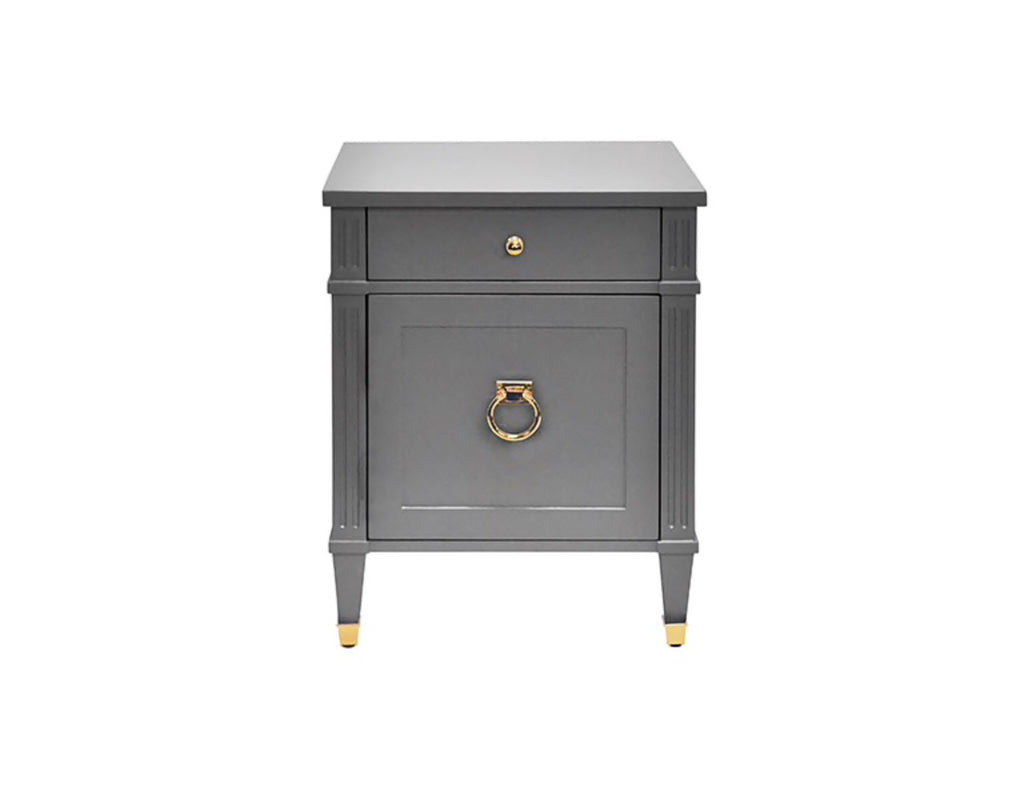 Worlds Away Lily Grey Lacquer/Brass Side Table - Matthew Izzo Home