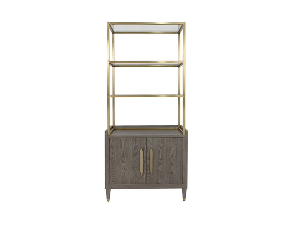 Worlds Away Rivaa Smoke Grey Etagere - Matthew Izzo Home
