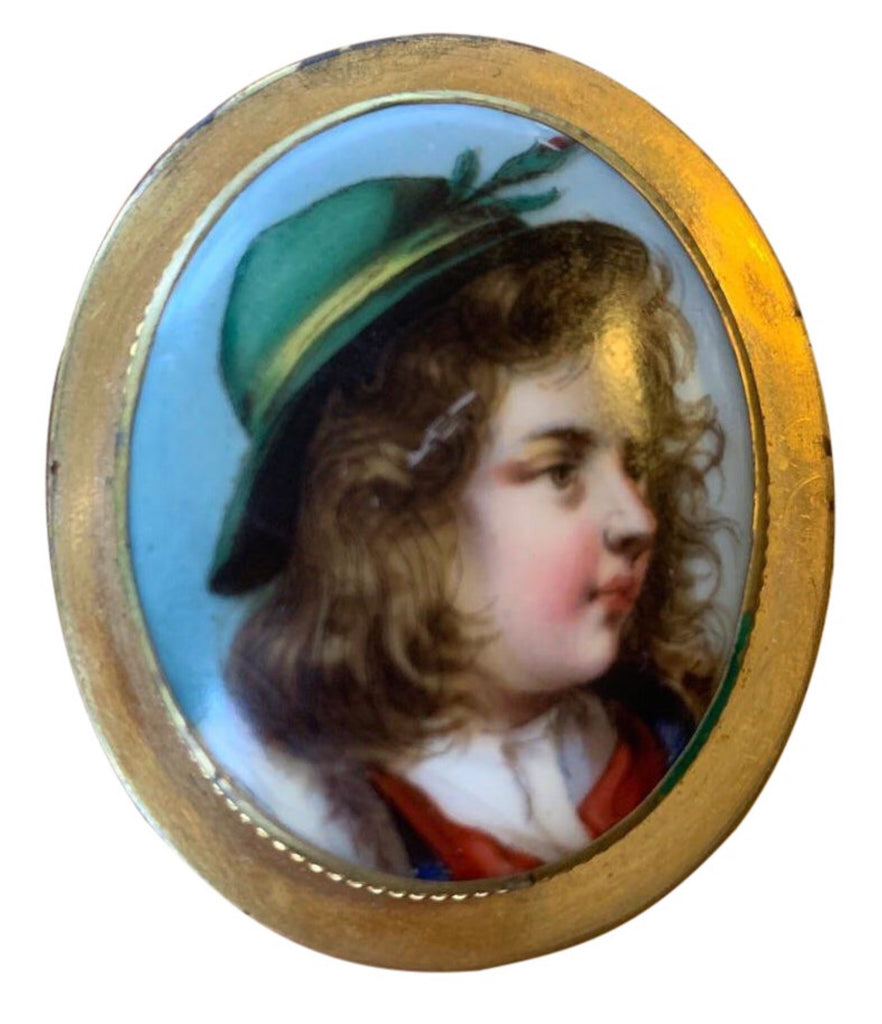 Victorian Hand-Painted Porcelain Gold-Plated Broach - Matthew Izzo Home