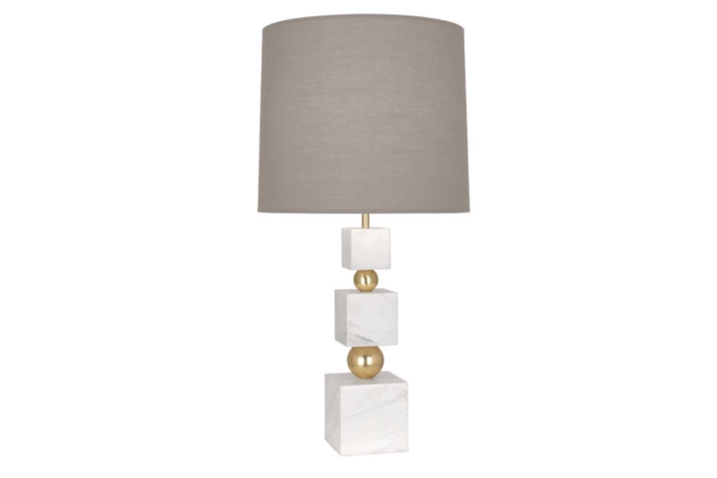 Jonathan Adler Totem White Marble/Grey Table Lamp - Matthew Izzo Home