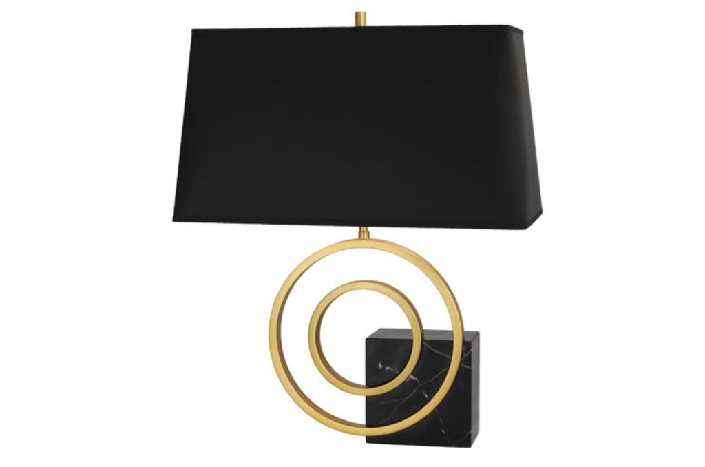 Saturn Black Marble/Brass/Black Table Lamp - Matthew Izzo Home
