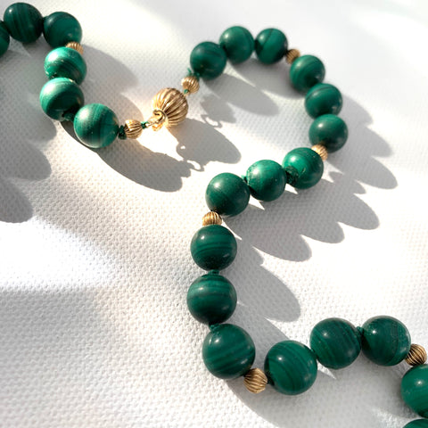 Vintage Malachite and 14k Gold Necklace - Matthew Izzo Home