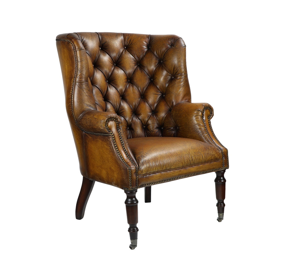 Portobello High Back Camel Leather Chair - Matthew Izzo Home