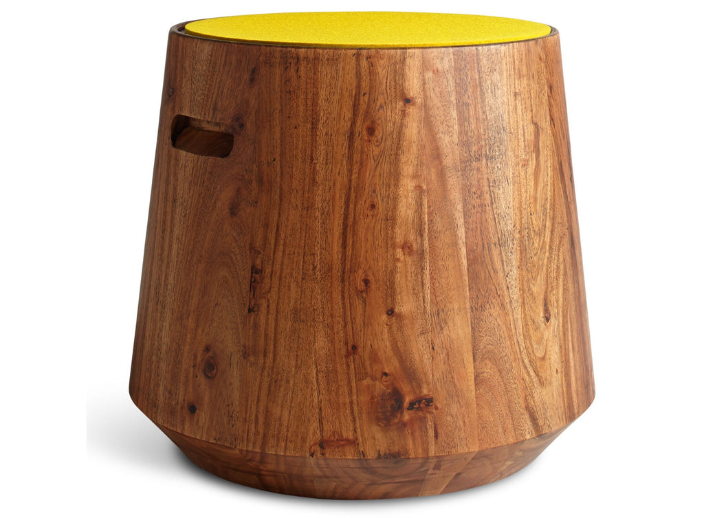 Blu Dot Turn Acacia/Yellow Stool - Matthew Izzo Home