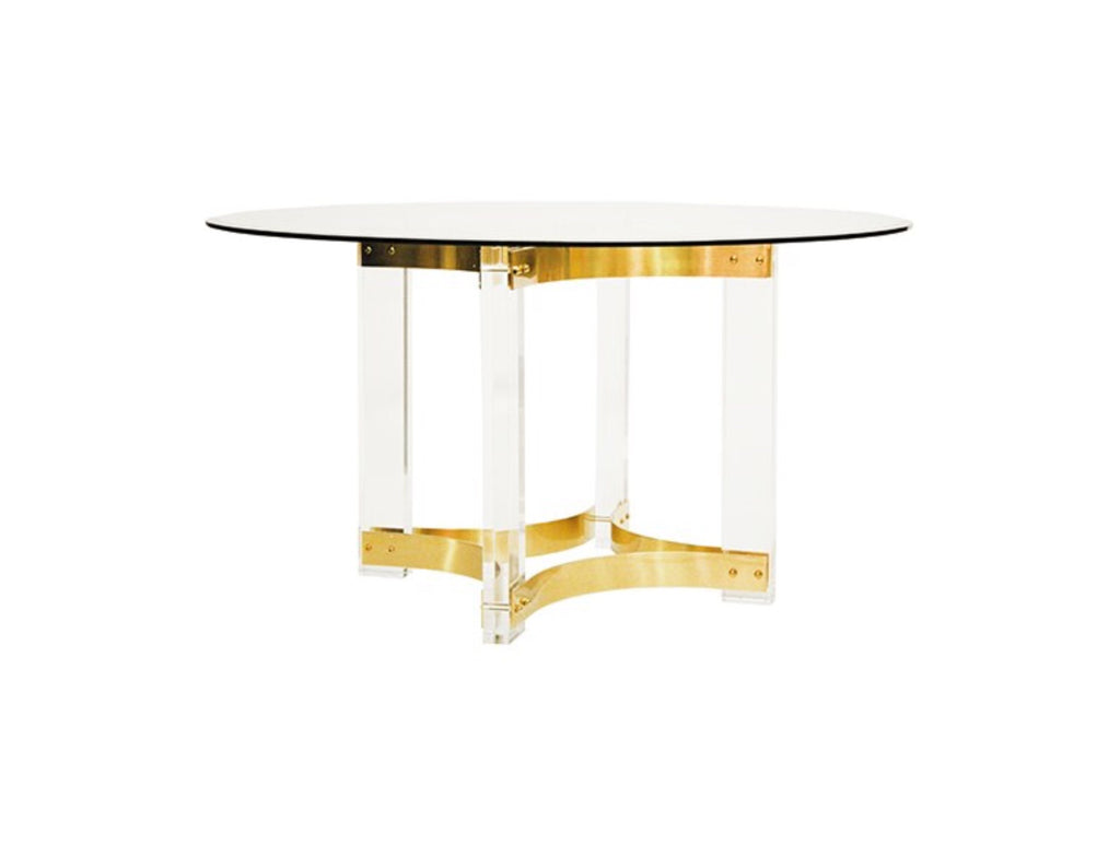 "Worlds Away Hendrix Brass Round 48"" Dining Table"