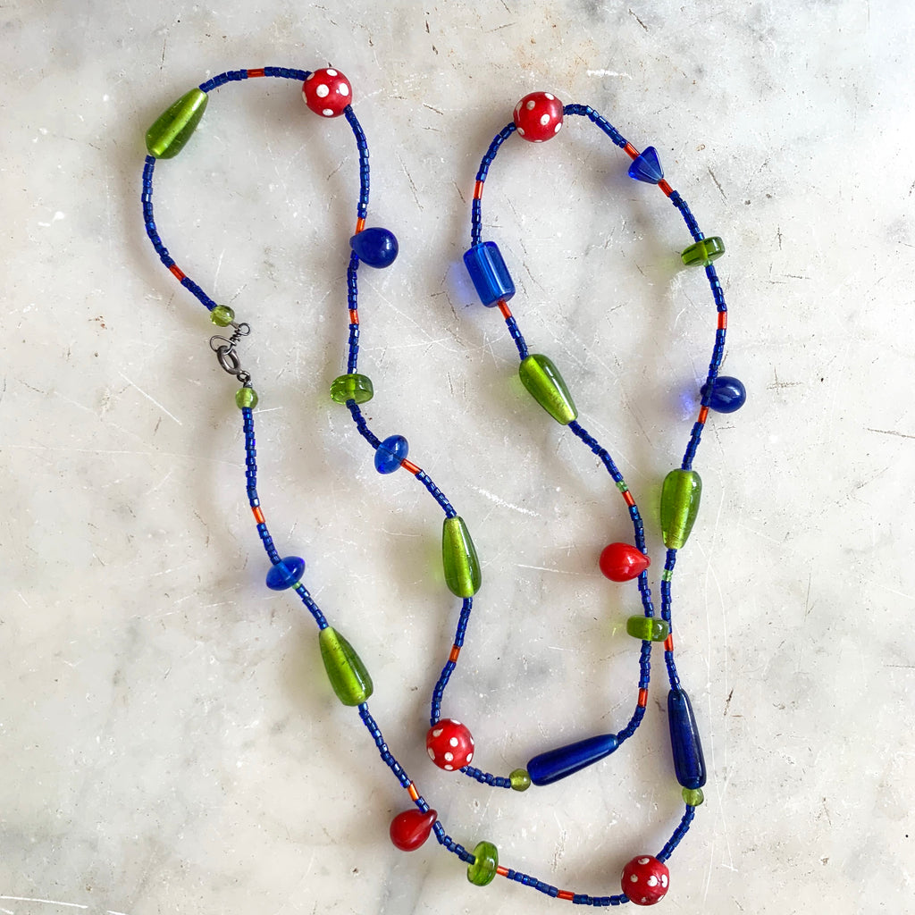 Vintage boho and African trade beads necklace - Matthew Izzo Home