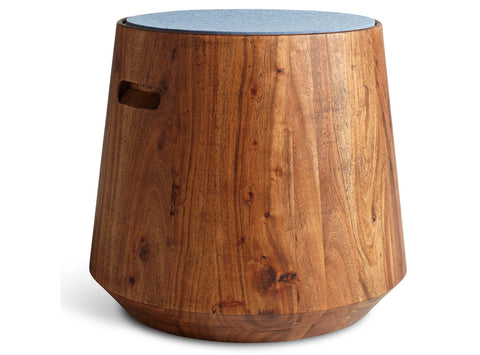 Blu Dot Turn Acacia/Heathered Light Blue Stool - Matthew Izzo Home