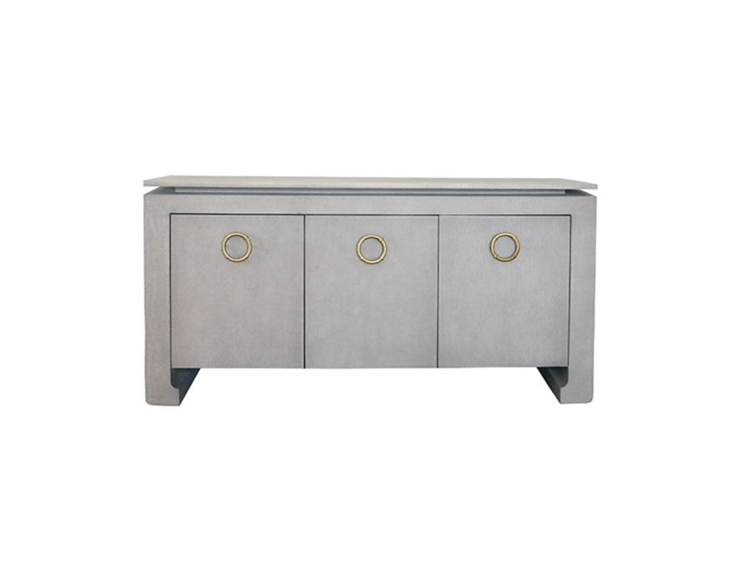 Worlds Away Tilley Grey Grasscloth Buffet - Matthew Izzo Home