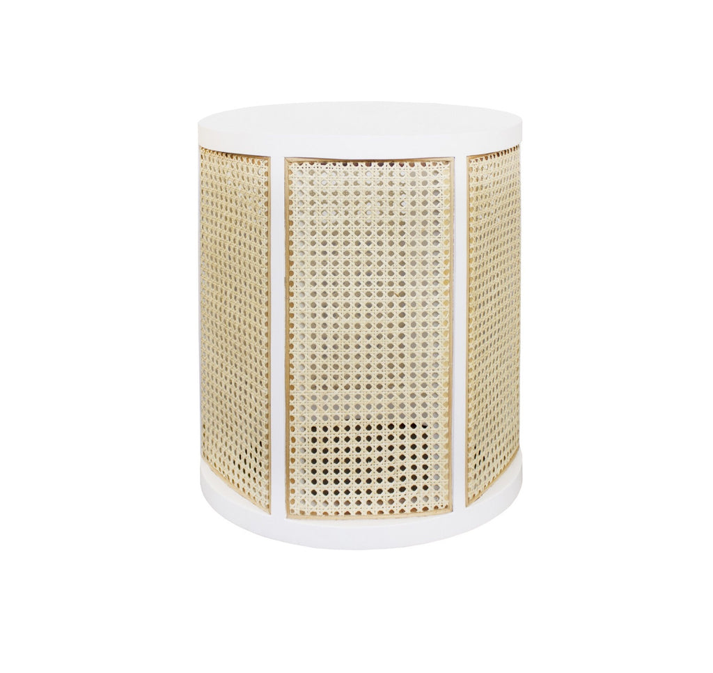 Worlds Away Freya White Lacquer Side Table - Matthew Izzo Home