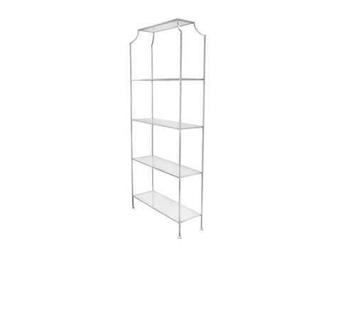 Worlds Away Chloe Silver Leaf Etagere - Matthew Izzo Home