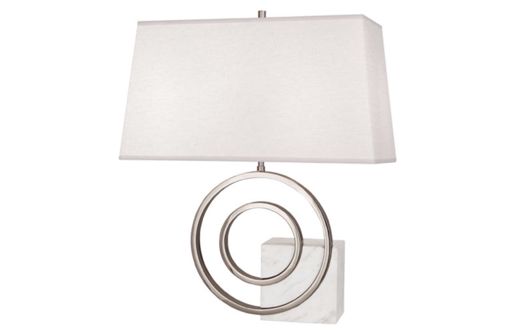 Saturn White Marble/Nickel/Linen Table Lamp - Matthew Izzo Home