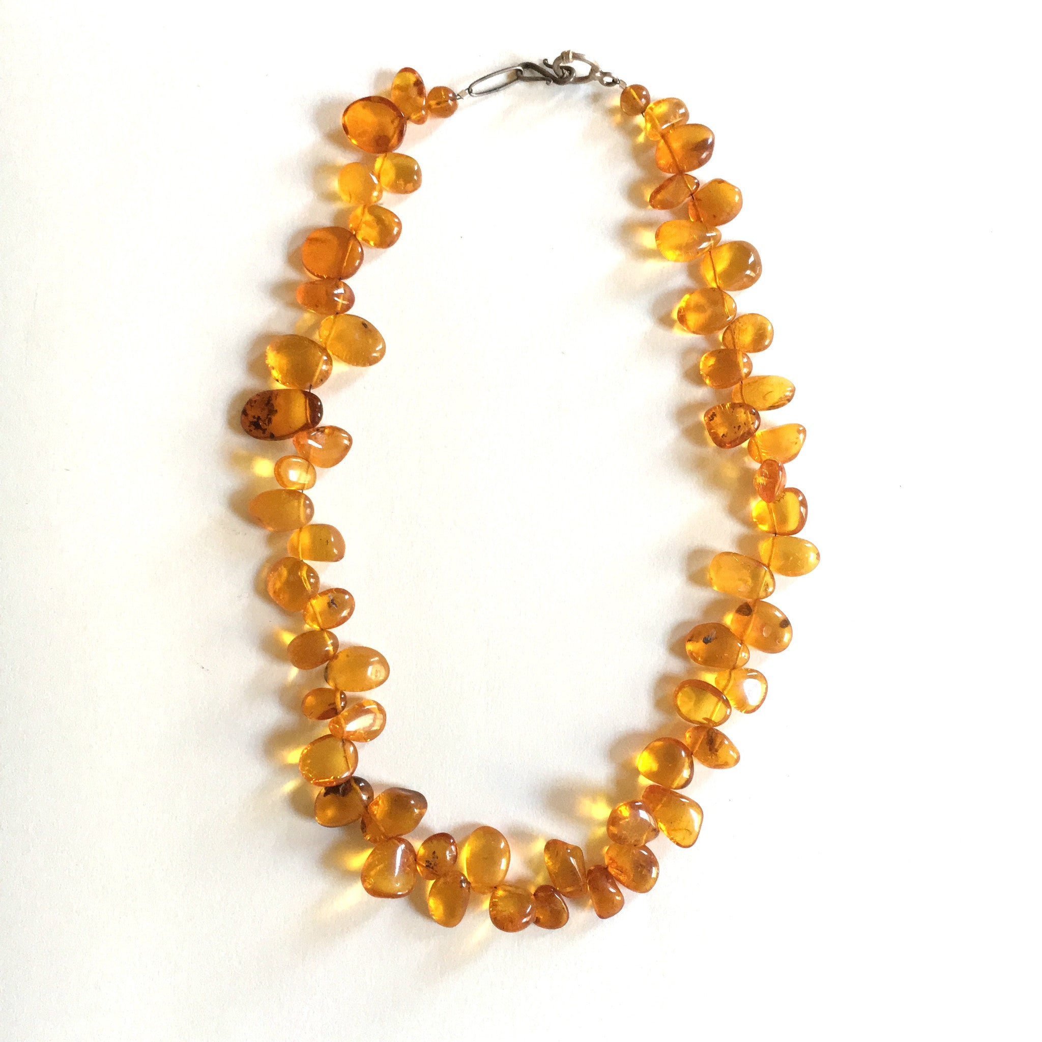 Quality Vintage Amber /& Gold Beaded Necklace