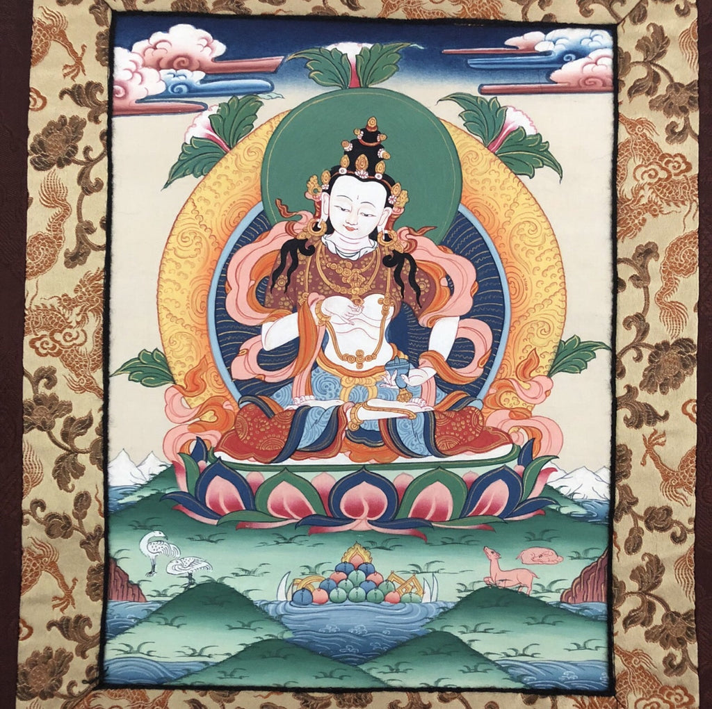 Antique Tibetan Thangka Wall Hanging - Burgundy Dragon Background - Matthew Izzo Home