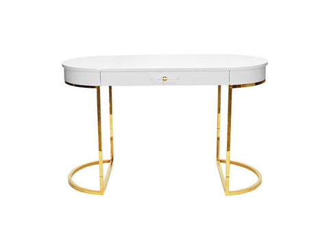 Worlds Away Corbett White Lacquer Desk - Matthew Izzo Home