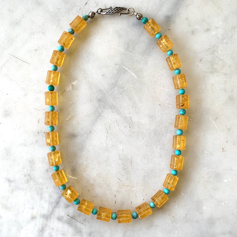 Vintage amber and turquoise necklace - Matthew Izzo Home