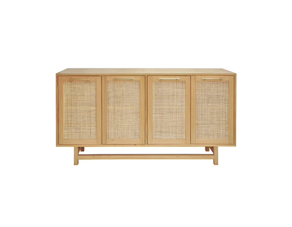 Worlds Away Macon Brass/Pine Wood Buffet Cabinet - Matthew Izzo Home