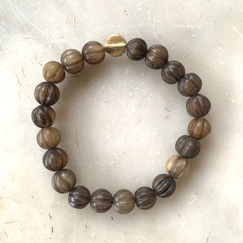Brown Jade and gold beaded bracelet - Matthew Izzo Home
