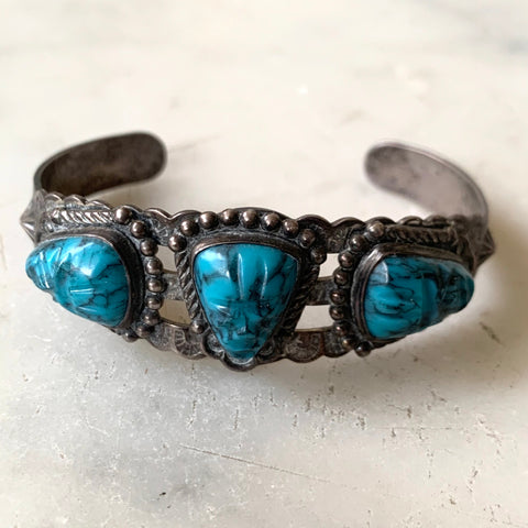 Vintage Native America Sterling Silver Turquoise bracelet - Matthew Izzo Home