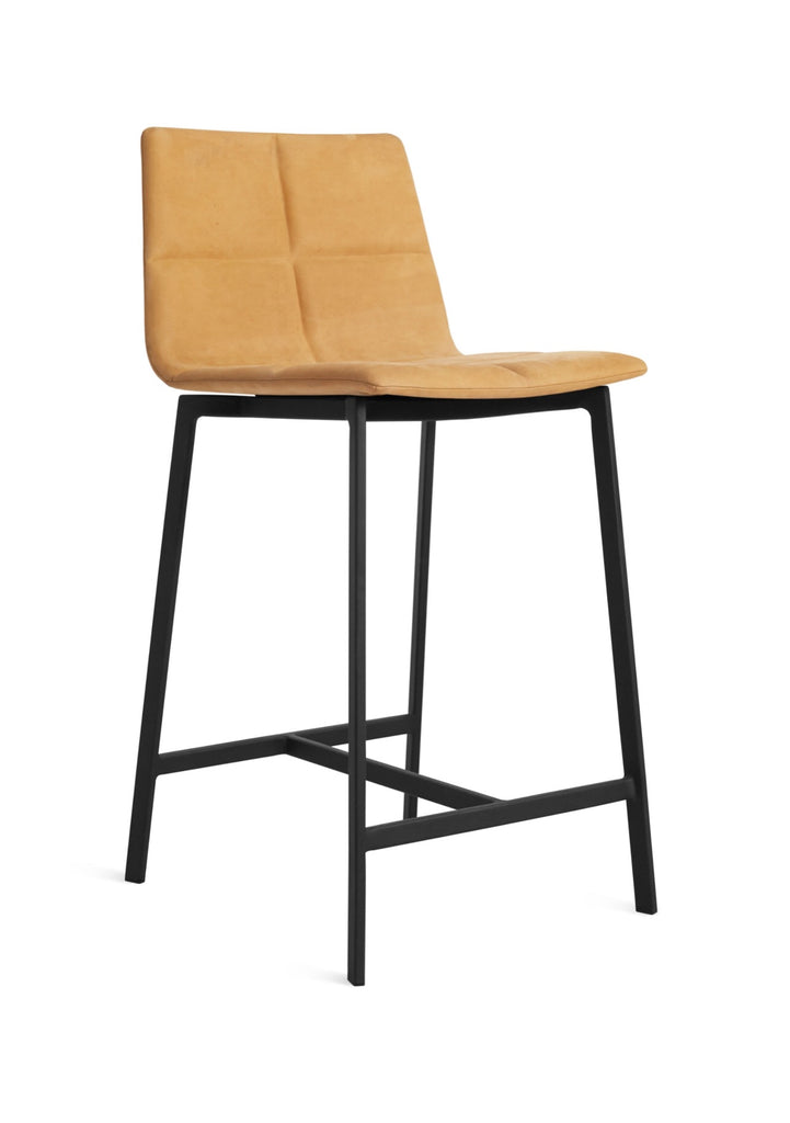 Blu Dot Between Us Camel Leather Modern Counter Stool - Matthew Izzo Home