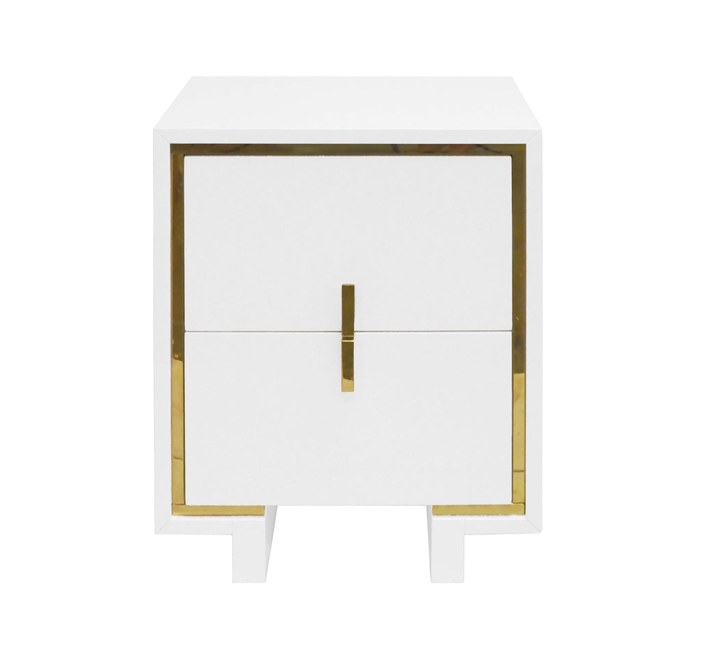 Worlds Away Bruna Modern White Side Table - Matthew Izzo Home