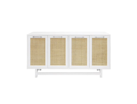 Worlds Away Macon Nickel/White Lacquer Buffet Cabinet - Matthew Izzo Home