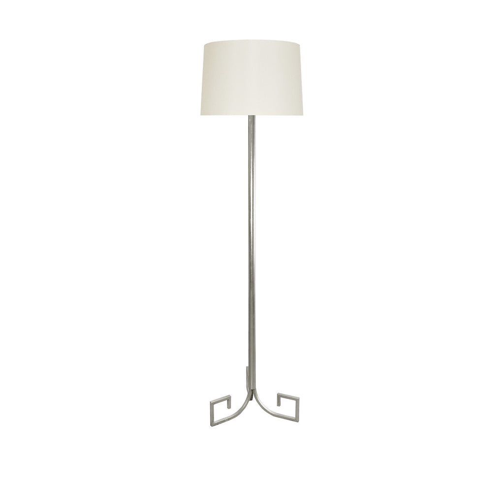 Worlds Away Merlin Silver Greek Key Floor Lamp
