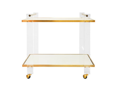 Worlds Away Pierce Brass/Acrylic Bar Cart - Matthew Izzo Home