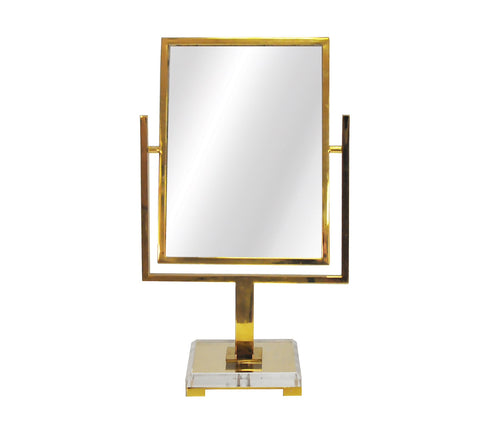 Worlds Away Caitlin Brass Countertop Mirror - Matthew Izzo Home
