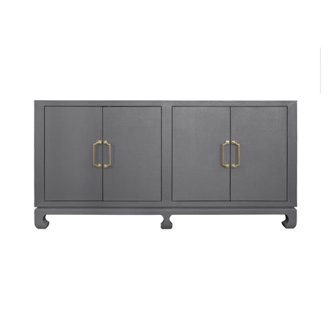 Worlds Away Drayton Grey Four Door Chest - Matthew Izzo Home