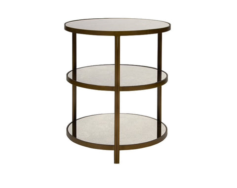 Worlds Away Audrey Three-Tiered Bronze Side Table - Matthew Izzo Home