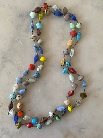 Mid-century boho glass beaded necklace - Matthew Izzo Home