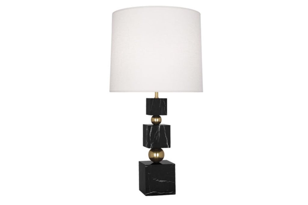 Jonathan Adler Totem Black Marble/Linen Table Lamp - Matthew Izzo Home