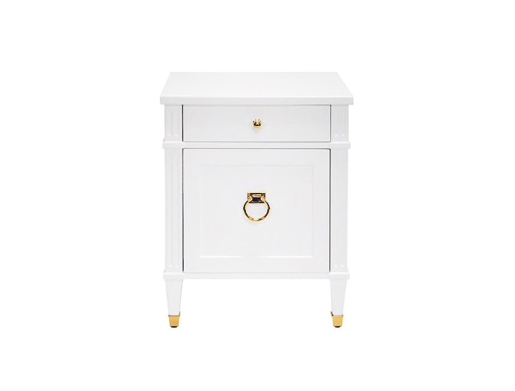 Worlds Away Lily White Lacquer/Brass Side Table - Matthew Izzo Home