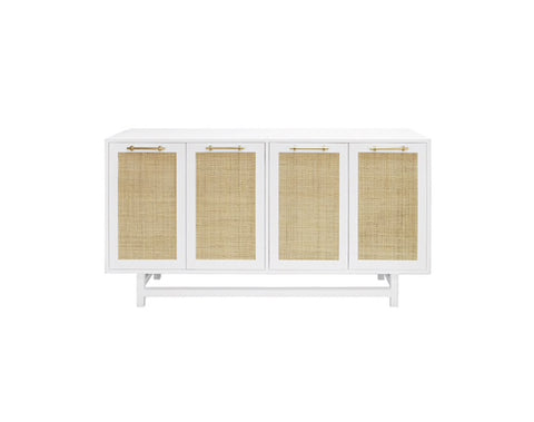 Worlds Away Macon Brass/White Lacquer Buffet Cabinet - Matthew Izzo Home