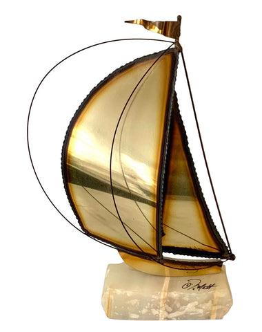 Mid-Century Modern Brass and Marble Sailboat