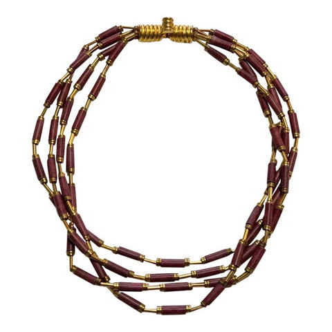 Vintage Brass and Jasper Stone Necklace - Matthew Izzo Home