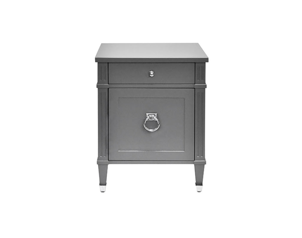 Worlds Away Lily Grey Lacquer/Nickel Side Table - Matthew Izzo Home