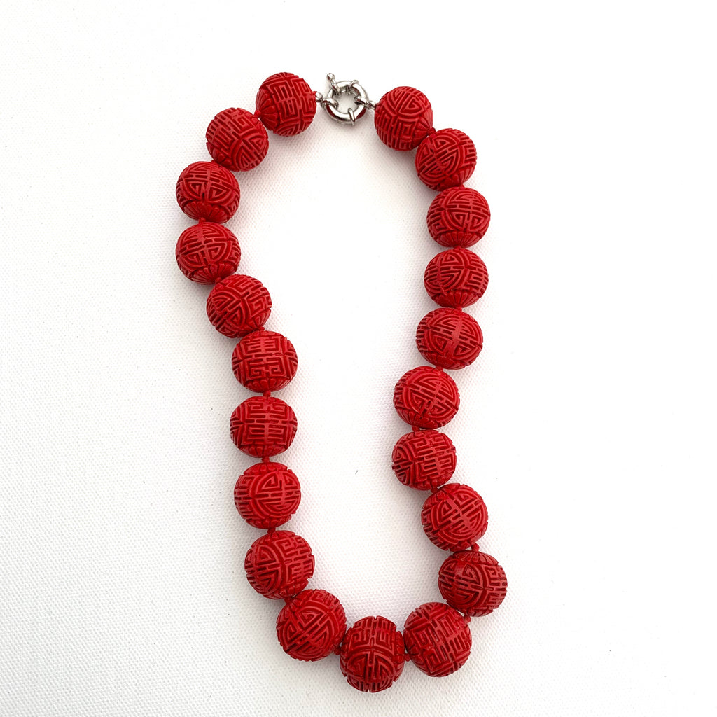 Vintage Chinese Cinnabar Necklace - Matthew Izzo Home