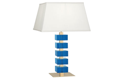 Jonathan Adler Monaco Turquoise Crystal Block Table Lamp - Matthew Izzo Home
