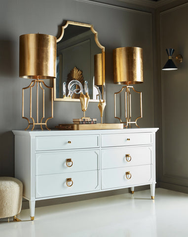 Worlds Away Vincent White Lacquer/Brass Dresser - Matthew Izzo Home