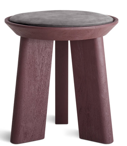 Blu Dot Mimi Modern Oxblood/Slate Leather Stool - Matthew Izzo Home