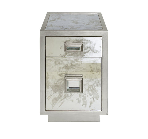 Worlds Away Cisco Silver Leaf Side Table