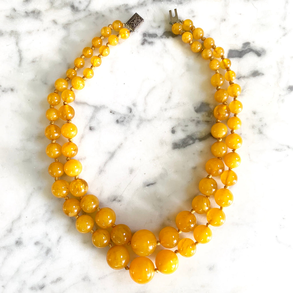 1960s Egg Yolk Amber Lucite Necklace - Matthew Izzo Home
