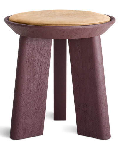 Blu Dot Mimi Modern Oxblood/Camel Leather Stool - Matthew Izzo Home