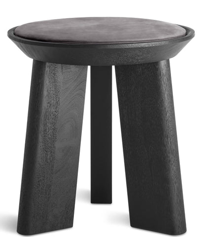 Blu Dot Mimi Modern Black/Slate Leather Stool - Matthew Izzo Home