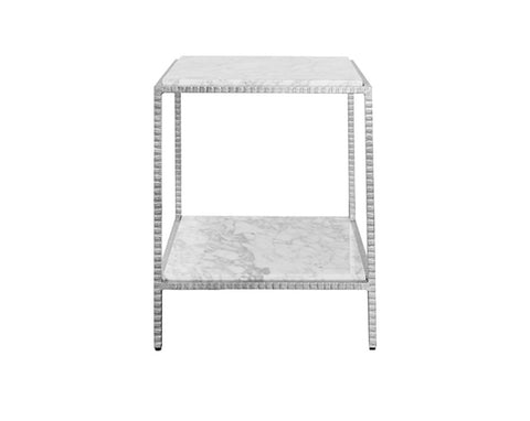 Worlds Away Brandy Silver Leaf Side Table