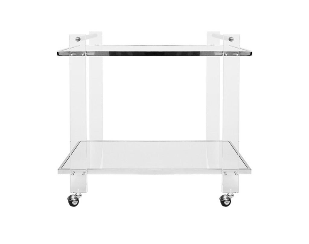 Worlds Away Pierce Nickel/Acrylic Bar Cart - Matthew Izzo Home